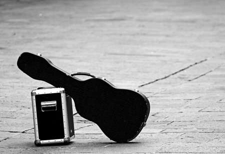 guitar with amplifier isolated abandoned in an isolated place