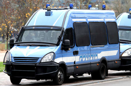 Armored police van transporting money and values photo