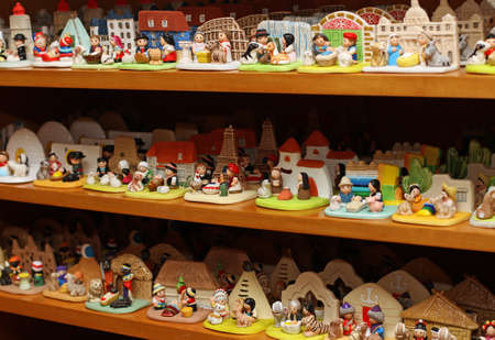 presepe: many Nativity scenes from around the world in religious goods store at Christmas 1 Stock Photo