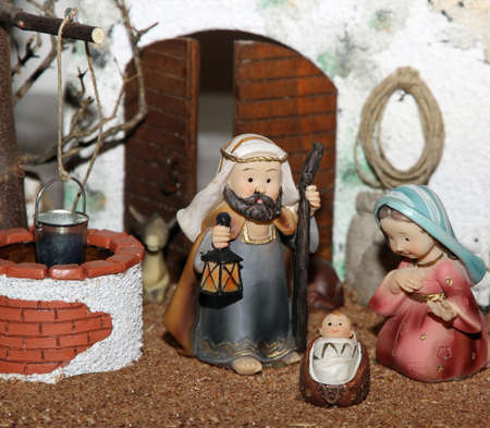 presepe: Jesus Joseph with the beard and the stick and Mary in a manger on Christmas and a well 1