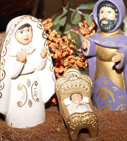 presepe: terracotta Nativity with Joseph with the long black beard Stock Photo