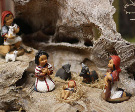 presepio: Classic Nativity scene with Jesus, Joseph and Mary in a manger on Christmas 1