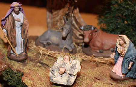 presepio: Nativity scene with Jesus, Joseph and Mary in a manger on Christmas 5