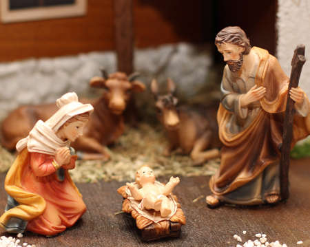 presepio: Classic Nativity scene with Jesus, Joseph and Mary in a manger 6