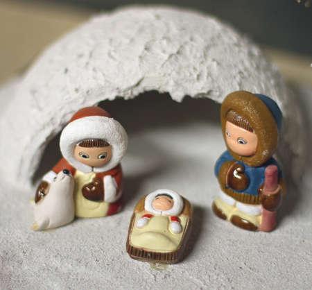 presepio: cold igloo with the crib in Eskimo of North Pole version 2 Stock Photo