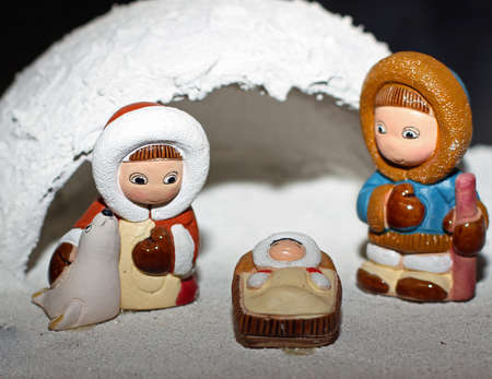presepio: cold igloo with the crib in Eskimo of North Pole version and a seal 3 Stock Photo