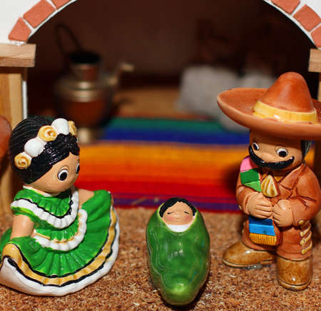 Mexican Nativity with Joseph with a black moustache Stock Photo