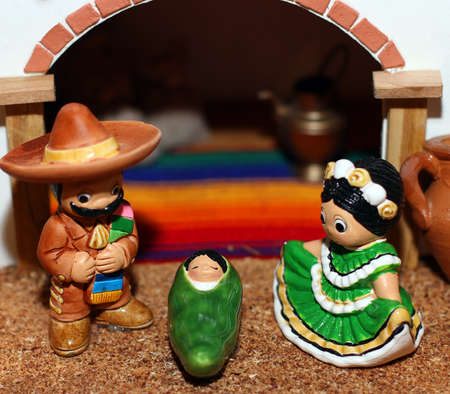 Mexican Hispanic Nativity with Joseph with a broad black moustache and sombrero 3