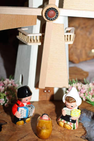 presepio: Dutch crib with a large mill in the background in amsterdam 1 Stock Photo
