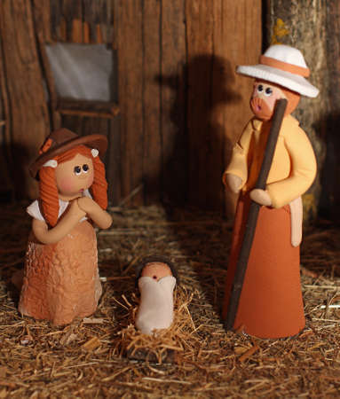 presepio: Nativity scene with Holy Family in South American version with cloak 4