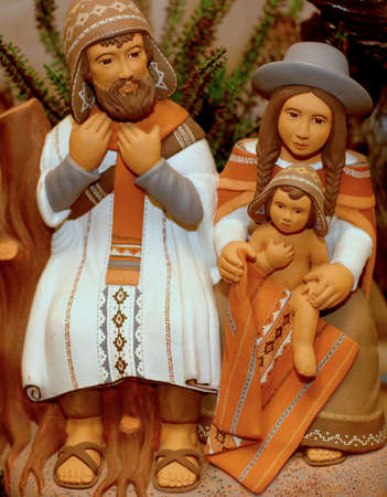 baby jesus: Nativity scene with Holy Family in South American version with cap 7