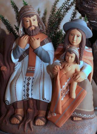 heilige familie: Die Heilige Familie mit Kleidung Bolivianer mit Mantel und Wollm�tze 1