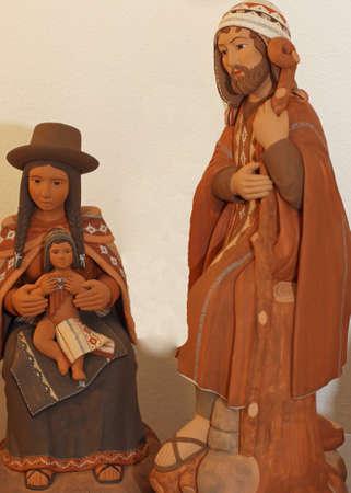heilige familie: Heilige Familie mit Kleidung Bolivianer mit Mantel und Wollm�tze 3