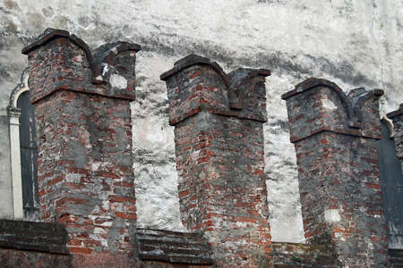 crenellations of the walls of a medieval castle in Thiene in Italy