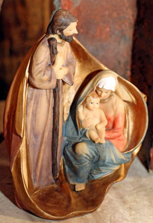 presepe: Classic Nativity with joseph, our lady and baby jesus at christmas