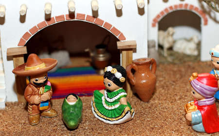 presepe: Mexican Hispanic Nativity with Joseph with a large sombrero