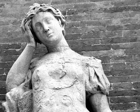 malaise: female statue with a lot of pain in the head because of migraine