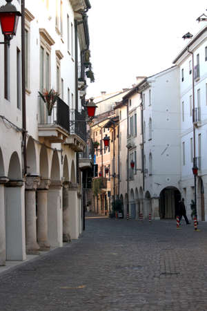 Corso fogazzaro one of the main streets of vicenza with red lamps Stock Photo - 24528453