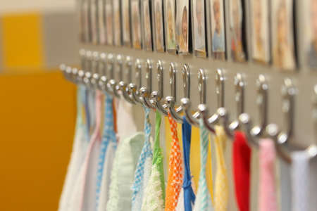 series hooks with colorful towels nursery children photo