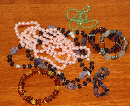 many vintage necklaces on sale at the jeweler shop photo