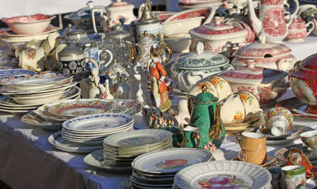 furnishings: ancient furnishings and ceramic plates for sale vintage shop