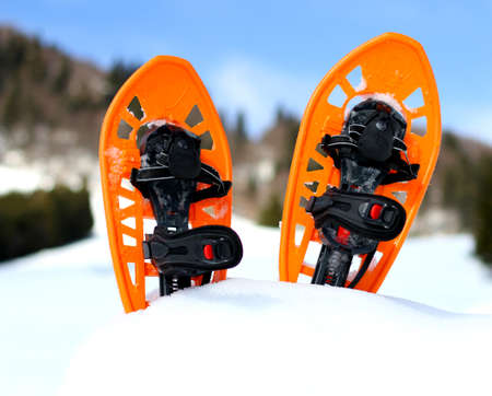 snowshoes: snowshoes for walking on the white snow on the mountain in cold winter