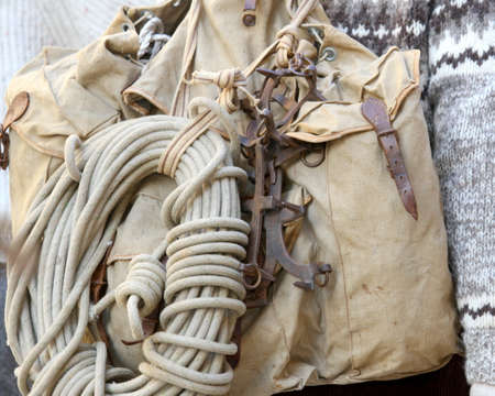 ancient backpack and climbing a rope climber of the 1930s