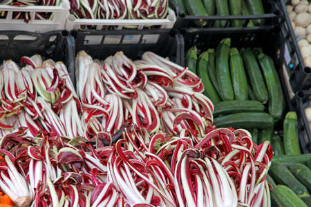 treviso: long red treviso radicchio and green zucchini sold at the market stand of greengrocers Stock Photo