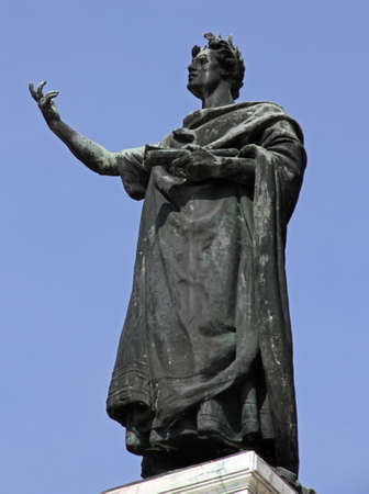 virgil: imposing statue of the famous poet Virgil in the Center in the city of Mantua