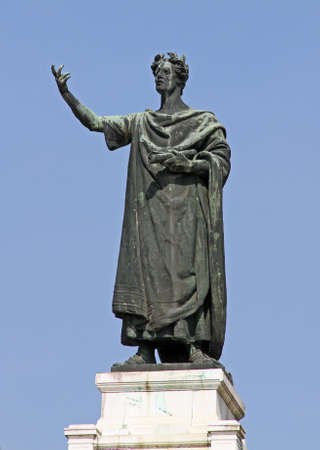 virgil: huge statue of the famous poet Virgil in the Center in the city of Mantua in Italy