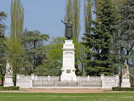 virgil: City Park with a statue of the famous poet Virgil in the city of Mantua in Italy