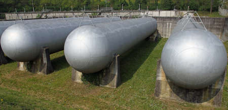 giant tanks and large huge cistern the storage of gas Stock Photo - 27111666