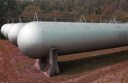 huge tanks very sturdy to hold methane gas during the winter Stock Photo - 27111679