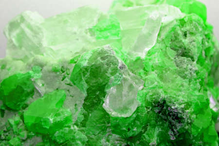 Rock with valuable green mineral just found by geologist during an excavation