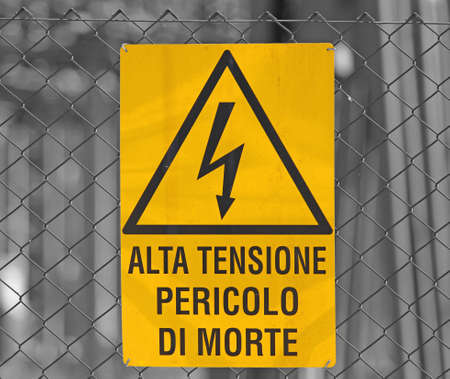 yellow sign for danger high voltage attention in large power station 3 photo