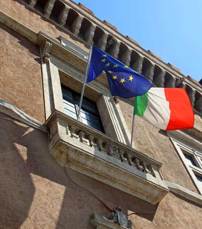 balcone di Piazza Venezia a Roma, dove si domina il Duce Benito Mussolini a parlare alla nazione Archivio Fotografico