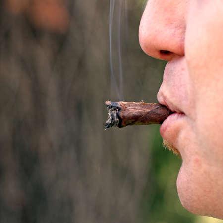 avid: cigar smoked by an avid smoker man 2