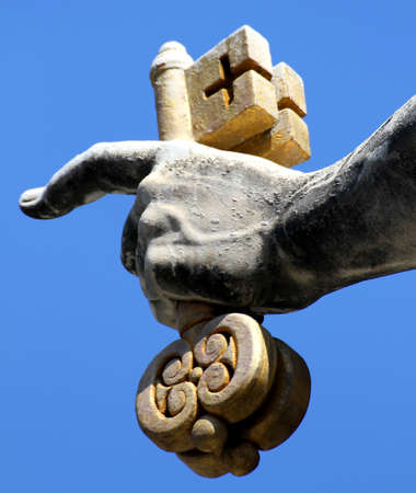 keys to heaven: huge hand of san pietro in Vatican City keeps firmly in his hand the keys of the heaven
