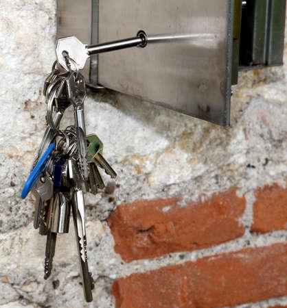 inox: hanging inox keys and a steel safe