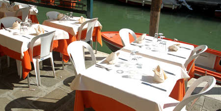 Italian restaurant on the Canal in Venice photo