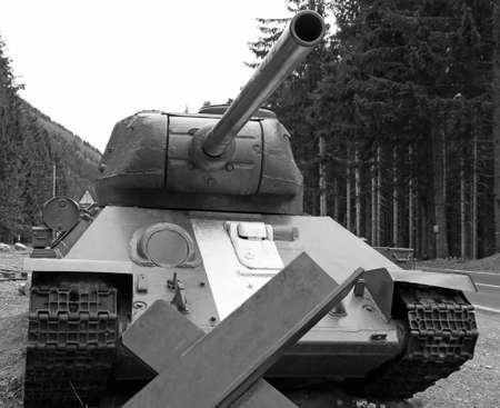 huge  tank used during the war in defense of the roadblock