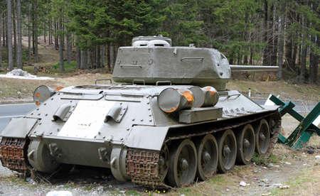 dangerous tank in a roadblock during the war Stock Photo - 27851192
