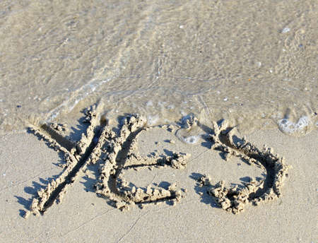 yeah: sea wave clears the word YES engraved on the sand of the Sea Beach 1