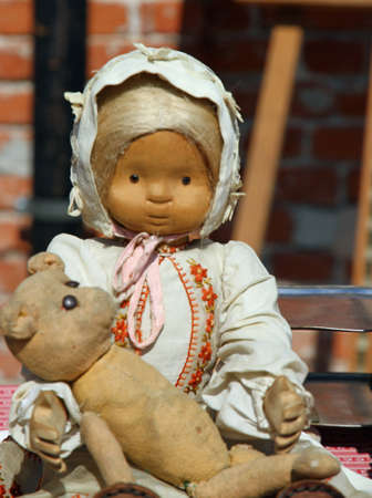 rag doll: retro rag doll with the teddy bear for sale in antiques shop