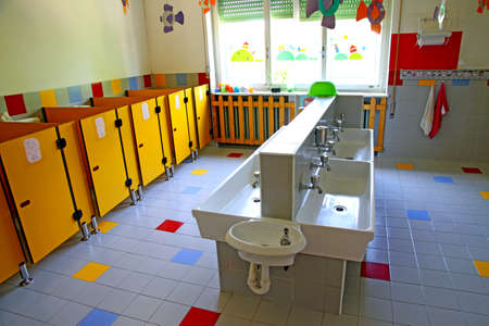 small bathrooms and low sinks in a school for young children