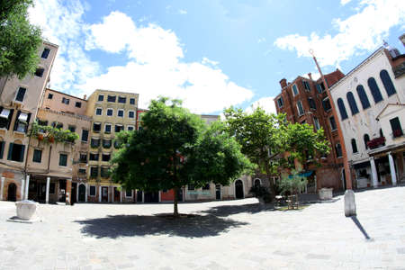 jewish houses: huge square in Jewish ghetto in Venice in Italy
