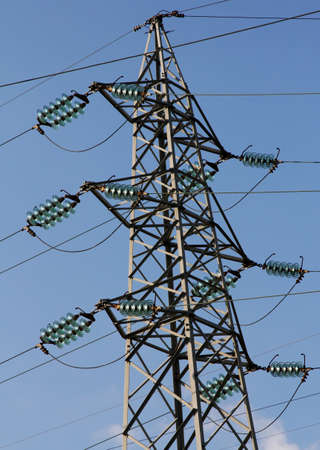 electric power station: giant pylon of the high voltage electric cables in power station