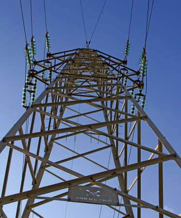 electric power station: pylon of the high voltage electric cables in power station