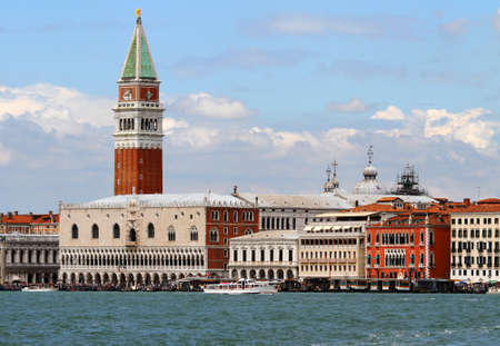 st mark's square: lagoon of Venice with the bell tower of Saint Mark and Riva degli Schiavoni Stock Photo