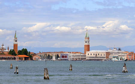 st  mark: venice lagoon with bell tower of St. Mark and St. George and Adriatic sea